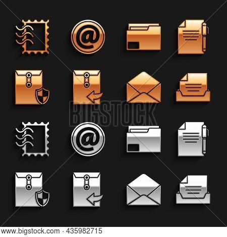 Set Envelope, Document And Pen, Drawer With Document, Shield, Folder, Postal Stamp And Mail E-mail I