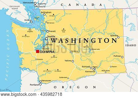 Washington, Wa, Political Map With The Capital Olympia. State In The Pacific Northwest Region Of The