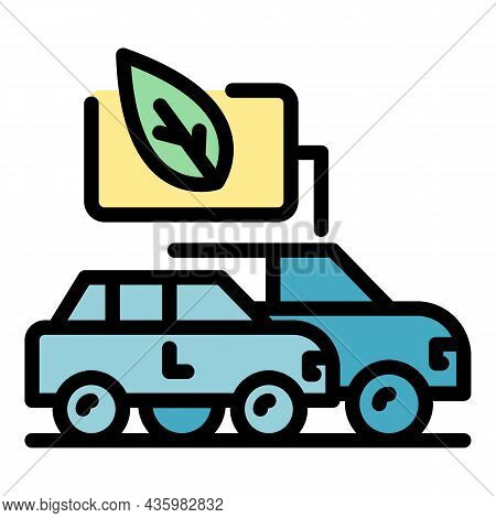 Modern Hybrid Cars Icon. Outline Modern Hybrid Cars Vector Icon Color Flat Isolated