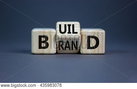 Build Your Brand Symbol. Turned Wooden Cubes And Changed The Word 'build' To 'brand'. Beautiful Grey