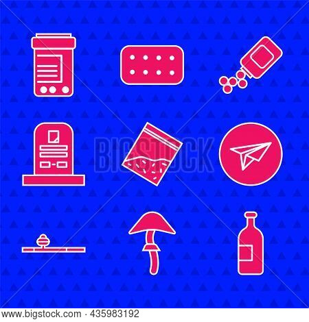 Set Plastic Bag Of Drug, Psilocybin Mushroom, Alcohol Drink Bottle, Messenger, Opium Pipe, Tombstone