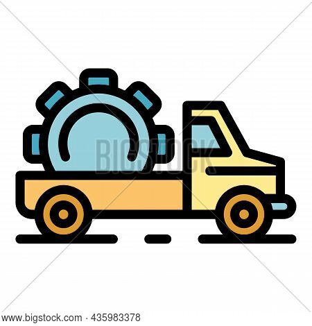 Hybrid Tow Truck Icon. Outline Hybrid Tow Truck Vector Icon Color Flat Isolated
