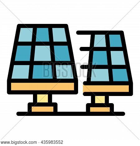 Solar Panels Icon. Outline Solar Panels Vector Icon Color Flat Isolated