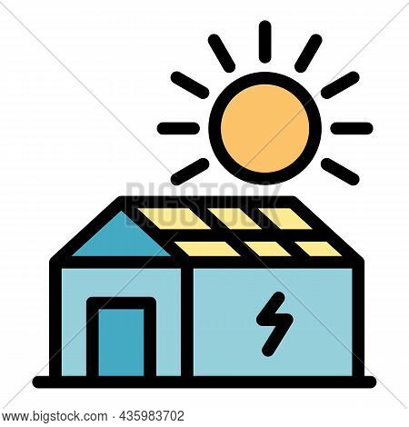House With Solar Panel Icon. Outline House With Solar Panel Vector Icon Color Flat Isolated