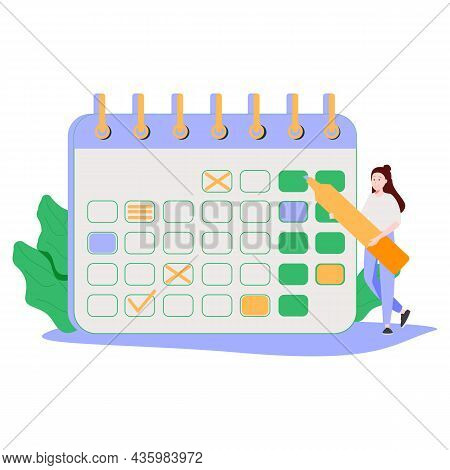 Woman Marks The Dates Of Menstruation Cycle In The Calendar. Concept Of An Online App For Tracking P