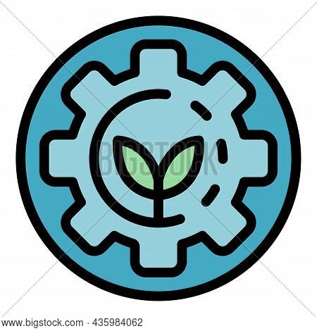 Gear Nature Energy Icon. Outline Gear Nature Energy Vector Icon Color Flat Isolated