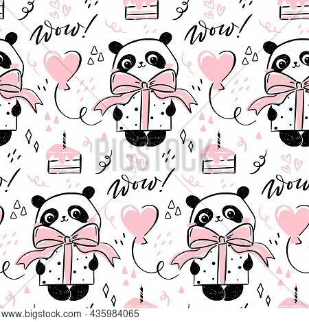 Little Panda - Seamless Pattern. Seamless Design With Cute Hand-drawn Panda Character Holding A Pres