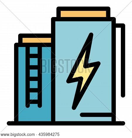 Power Battery Energy Icon. Outline Power Battery Energy Vector Icon Color Flat Isolated