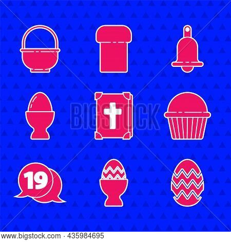 Set Holy Bible Book, Easter Egg On A Stand, Cake, Speech Bubble With Happy Easter, Ringing Bell And