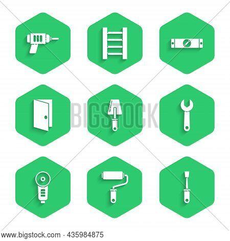 Set Trowel, Paint Roller Brush, Screwdriver, Wrench Spanner, Angle Grinder, Closed Door, Constructio