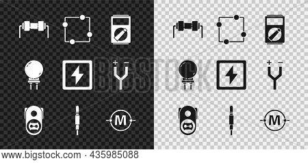 Set Resistor Electricity, Electric Circuit Scheme, Multimeter, Electrical Outlet, Audio Jack, Light