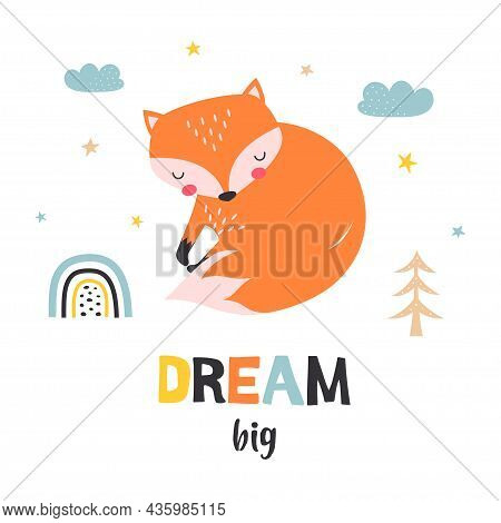 Card With Cute Slipping Fox And Lettering Dream Big Isolated On White Background, Cute Cartoon Fox P