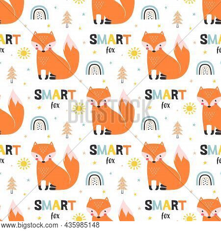 Seamless Pattern With Rainbows, Funny Animals, Lettering, Sun And Stars, Smart Fox Wallpaper, Childr
