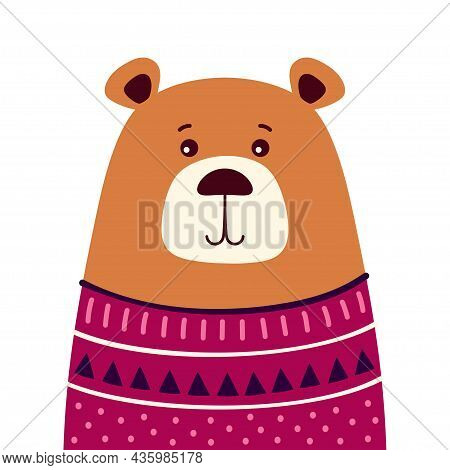 Cute Print With Bear In Cardigan, Modern Style Poster For Home Decor, Print For Any Design, Flat Vec
