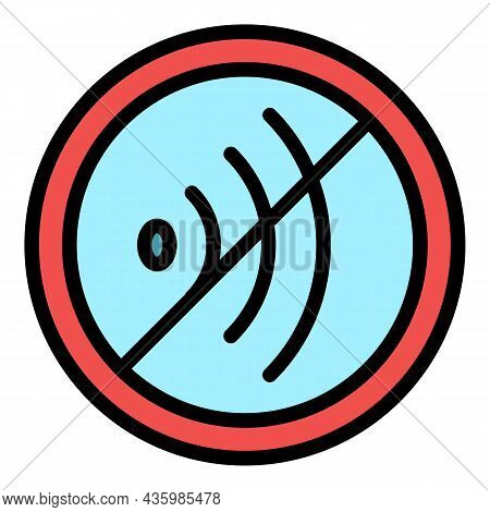 Mute Sound Icon. Outline Mute Sound Vector Icon Color Flat Isolated