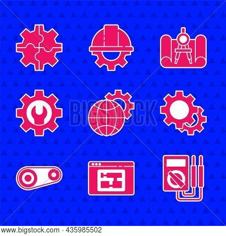 Set Globe Of The Earth And Gear, House Plan, Multimeter, Gear, Timing Belt Kit, Wrench Spanner, Grap