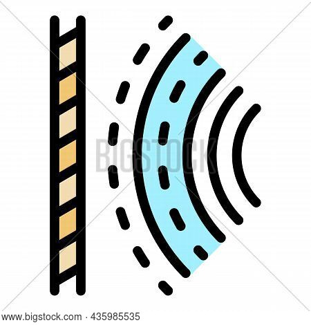 Audio Signal Icon. Outline Audio Signal Vector Icon Color Flat Isolated
