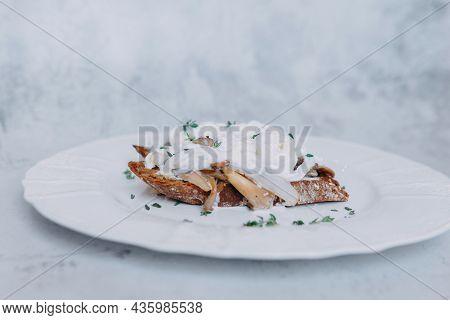 Bruschetta With Mushrooms, Onions And Mozzarella On A White Plate. Bruschetta On Rye Bread, Healthy