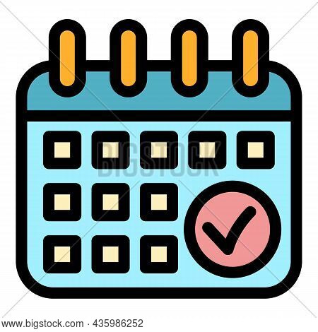 Running Calendar Date Icon. Outline Running Calendar Date Vector Icon Color Flat Isolated