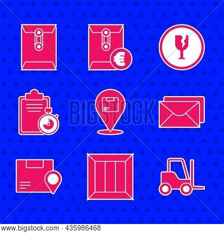 Set Location With Cardboard Box, Wooden, Forklift Truck, Envelope, Verification Of Delivery List Cli