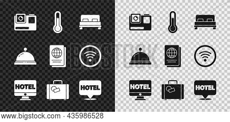 Set Action Extreme Camera, Meteorology Thermometer, Big Bed, Online Hotel Booking, Suitcase, Locatio