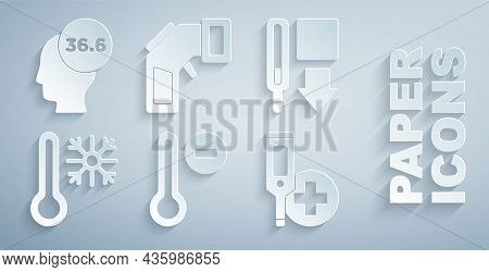 Set Meteorology Thermometer, Medical, Thermometer With Snowflake, Digital, And Icon. Vector