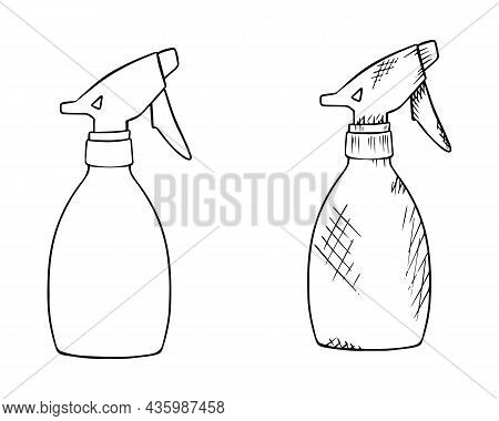 Spray Guns Drawn By Hand With A Black Outline. Spray Gun Icon, Black Outline, Doodle. Sprayer For Wa