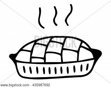 Autumn Pie Hand-drawn With A Black Outline. Pie Icon, Black Outline, Doodle. Pumpkin Traditional Pie
