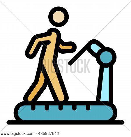 Workout Senior Treadmill Icon. Outline Workout Senior Treadmill Vector Icon Color Flat Isolated