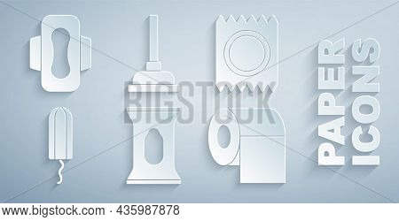 Set Wet Wipe Pack, Condom In Package Safe Sex, Sanitary Tampon, Toilet Paper Roll, Rubber Plunger An