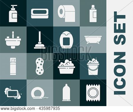 Set Condom In Package Safe Sex, Bucket With Soap Suds, Bathtub, Toilet Paper Roll, Rubber Plunger, W