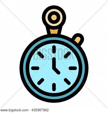 Workout Senior Stopwatch Icon. Outline Workout Senior Stopwatch Vector Icon Color Flat Isolated