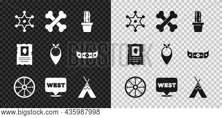 Set Hexagram Sheriff, Crossed Human Bones, Cactus Peyote In Pot, Old Wooden Wheel, Pointer To Wild W
