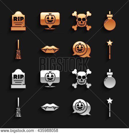 Set Vampire Teeth, Bomb Ready To Explode, Magic Wand, Pumpkin, Witches Broom, Skull On Crossbones, T