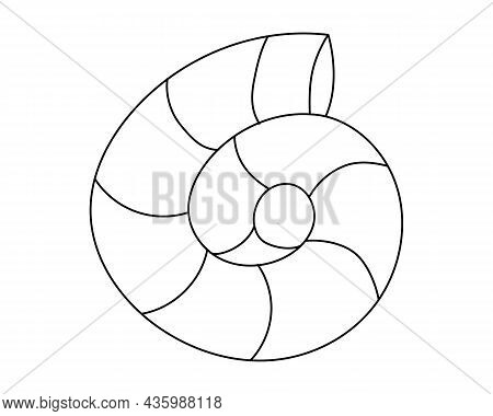 The Shell Is Hand-drawn With A Black Outline. Shell Icon, Black Outline, Doodle. Vector Illustration