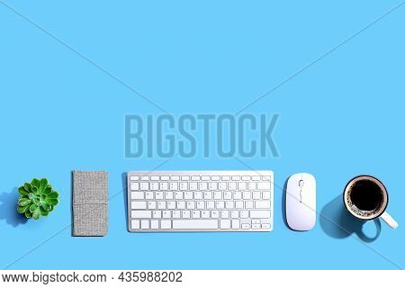 Computer Keyboard And Mouse From Above - Overhead View
