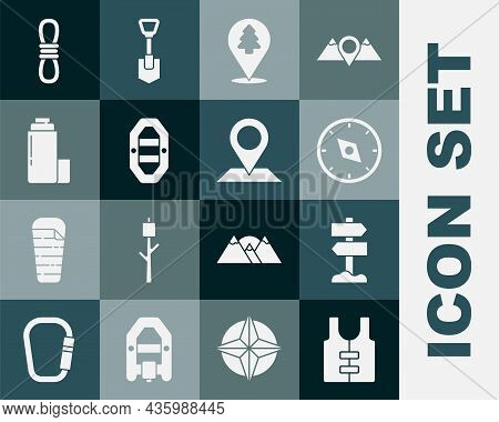 Set Life Jacket, Road Traffic Signpost, Compass, Location Of The Forest, Rafting Boat, Thermos Conta