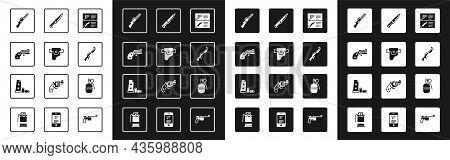Set Weapon Catalog, Gun In Holster, Small Gun Revolver, Hunting, Military Knife, Hand Grenade And Ma