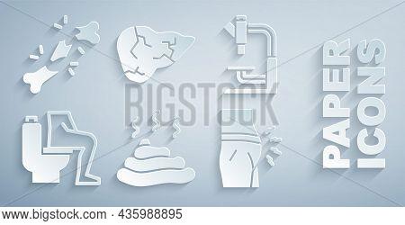 Set Shit, Microscope, Constipation, Abdominal Bloating, Hepatitis Virus And Human Broken Bone Icon.
