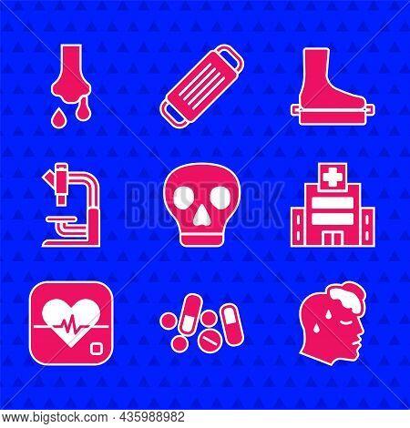 Set Skull, Medicine Pill Or Tablet, High Human Body Temperature, Medical Hospital Building, Heart Ra