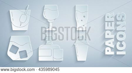Set Whiskey Bottle And Glass, Glass Of Beer, Whiskey, Cocktail Shaker, Wine And Bloody Mary Icon. Ve