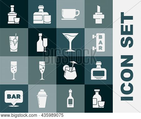 Set Alcohol Drink Rum, Whiskey Bottle, Street Signboard With Bar, Coffee Cup, Wine Glass, Cocktail B