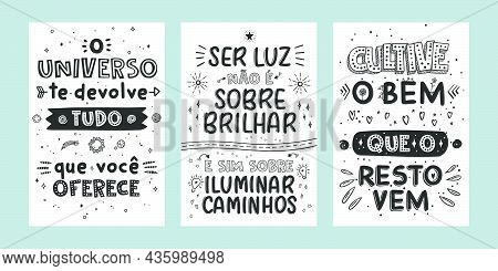 Three Motivational Portuguese Posters. Happy Lettering Phrases!