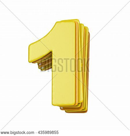 Yellow Font Number 1 One 3d Render Illustration Isolated On White Background