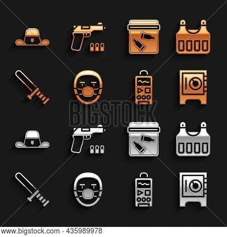 Set Doctor Pathologist, Bulletproof Vest, Safe, Dictaphone, Police Rubber Baton, Evidence Bag With B
