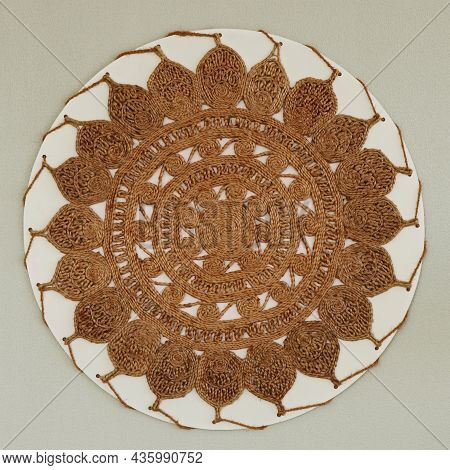 Wall Decorative Coir Mat With Design In Close Up