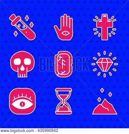 Set Magic Runes, Old Hourglass With Sand, Powder, Diamond, Masons, Skull, Christian Cross And Bottle