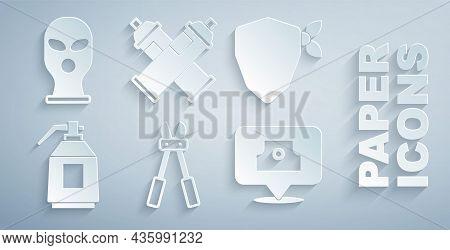 Set Bolt Cutter, Vandal, Paint Spray Gun, Spray Can Nozzle Cap, And Balaclava Icon. Vector