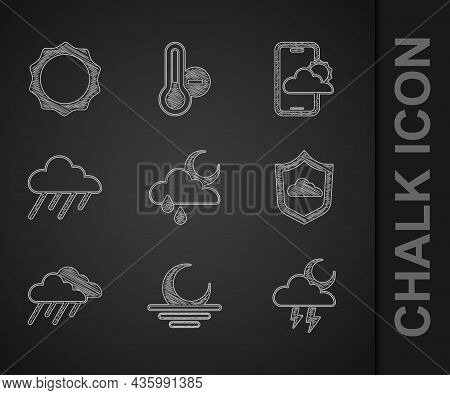 Set Cloud With Rain And Moon, Sunset, Storm, Weather Forecast, And Icon. Vector