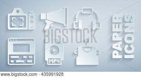 Set Mp4 File Document, Headphones, Video Recorder Laptop, Sleeveless T-shirt, Megaphone And Photo Ca